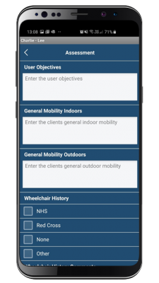 wheelchair assessment mobile app screenshot