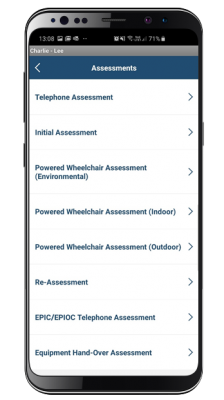 wheelchair mobile app screenshot